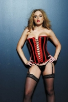 2 Tone Vinyl Corset w/Piping