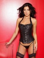 Lace Up Leather Corset w/Boning