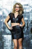 Leather & Mesh Hook & Eye Bustier