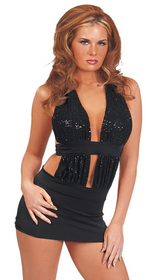 Halter Sequin Low Cut Dress - Sexy Dresses - Sexy Dresses, Sexy Gowns, Sexy Lingerie, Sexy Costumes, & Sexy Clubwear! at Danger Kitty Fashions! - (Powered by CubeCart)