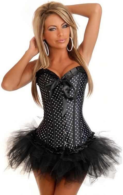 Black Burlesque Polka Dot Corset & Pettiskirt