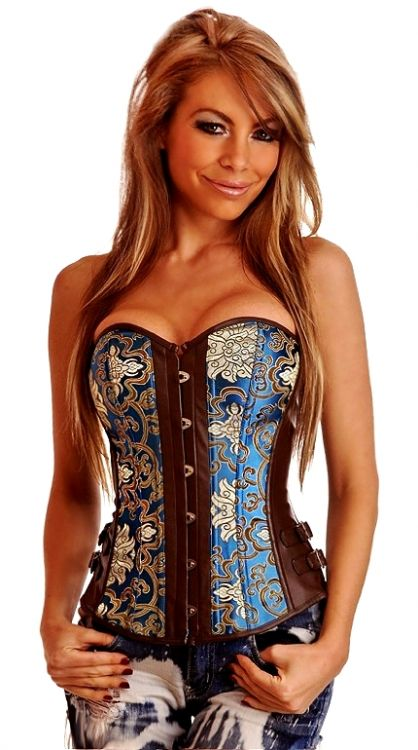 Brocade & Vegan Leather Strapless Corset Top