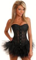 Strapless Black Lace Corset & Pettiskirt