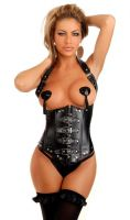 Faux Leather Buckles Underbust Corset