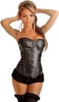 Vegan Leather Lace-Up Sides Corset