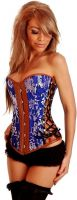 Brocade & Vegan Leather Strapless Corset