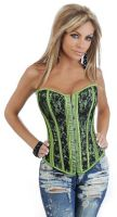 Green Strapless Lace Corset