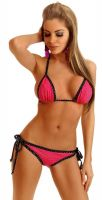 Hot Pink Foil Dot Pucker Back Bikini