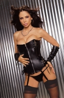 Leather Zip-Front Corset w/Boning & Lace Up Detail