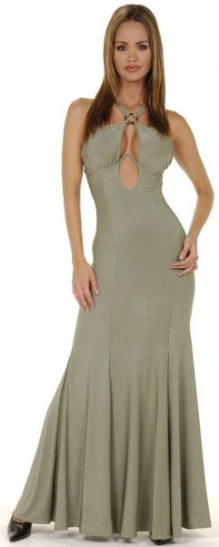 Long Keyhole Gown w/Built In Bra