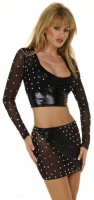 Long Sleeve Crop Top & Mini Skirt w/Rhinestones