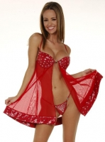 Babydoll Bra Dress w/Rhinestones & Breakaway Thong