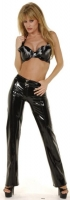 Black Vinyl Zip Front Pants