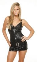 Buckle Mini Dress w/Zip Front