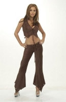 Chocolate Suede Lace Up Vest & Pants