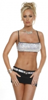 Bandeau Sequin Top w/Mini Skirt & Belt