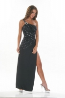 One Shoulder Rhinestone Gown