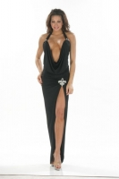 Draping Low Cut Halter Gown