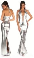 Lace Up Metallic Gown