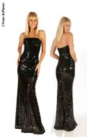 Long Strapless Sequin Gown