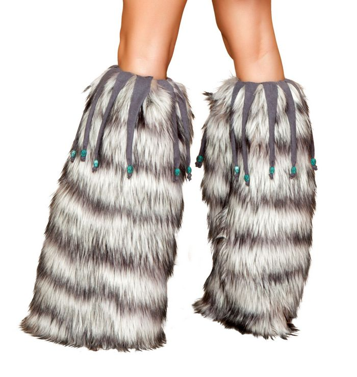Fur Leg Warmer with Beaded Fringe