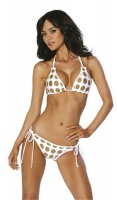 Brazilian Back Gold Polka Bikini