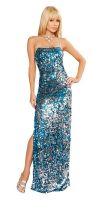 Backless 2-Tone Sequin Gown