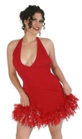 Halter Top Flair Skirt Dress w/Feather Trim