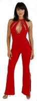High Neck Catsuit w/Teardrop Opening & Rhinestones