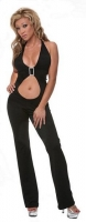 Open Front Catsuit w/Rhinestone Buckles