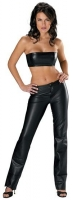 Low Rise Boot Cut Leather Pants