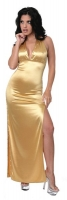 Halter Top Satin Gown w/Rhinestones