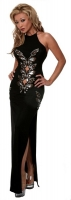 High Neck Gown w/Lace & Sequin Appliques