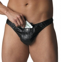 Mens Leather Thong w/Money Pocket