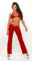 Red Caviar Bead Low Rise Pants