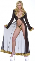 Black Mesh Robe w/Golden Tiger Collar